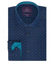 Мужская приталенная рубашка, темно-синяя в крапинку - манжеты на пуговицах