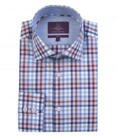 Мужская приталенная модная рубашка,  тёмно-синяя с красным мульти-клетка