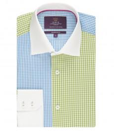 Мужская приталенная рубашка, голубая в зеленую клетку - манжеты на пуговицах