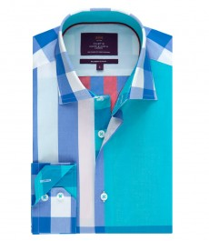 Men's Curtis Blue & Red Check Slim Fit Shirt - Single Cuff