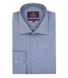 Мужская голубая рубашка с белым, жаккард, приталенная-одинарные манжеты.