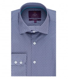 Men's Curtis Dark Blue Geometric Design Slim Fit Shirt - Single Cuff