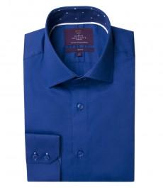 Мужская рубашка, темно-синяя, приталенная с высоким воротником на двух пуговицах - манжеты на пуговицах
