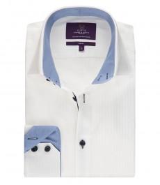 Мужская модная приталенная рубашка белого цвета ткань в мелкий рубчик