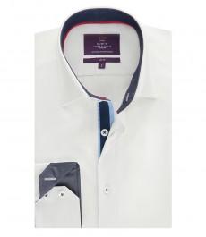Мужская белая рубашка, однотонная с контастными деталями, приталенная - манжеты на пуговицах