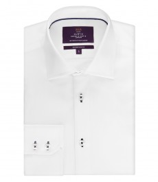 Мужская приталенная рубашка, белая с контрастными деталями - манжеты на пуговицах