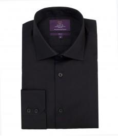 Мужская черная рубашка, ткань поплин, приталенная-одинарные манжеты.