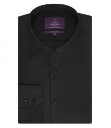 Мужская приталенная рубашка, черная - манжеты на пуговицах