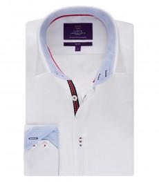 Мужская белая рубашка, поплин, приталенная - манжеты на пуговицах