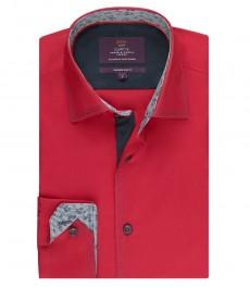 Мужская приталенная рубашка, поплин, красная - манжеты на пуговицах