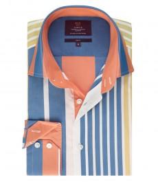 Мужская рубашка, темно-синяя в разноцветную полоску, приталенная - манжеты на пуговицах