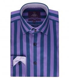 Мужская рубашка кертис, темно-синяя с фиолетовыми полосками, приталенная - одинарные манжеты