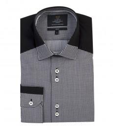 Мужская приталенная рубашка, черная в белую клетку, контрастные детали - манжеты на пуговицах