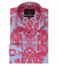 Мужская приталенная рубашка, светло-голубая, красный принт пейсли - высокий воротник