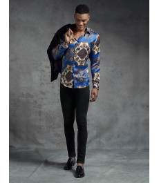 Мужская приталенная рубашка голубой с кремовым принт пейсли - 100% Шёлк