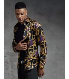 Мужская приталенная рубашка чёрный с жёлтым принт с цепями - 100% Шёлк