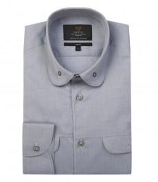 Мужская приталенная модная серая рубашка с закругленным воротником
