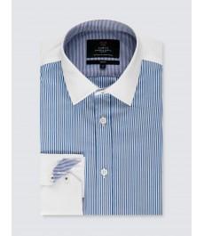 Мужская приталенная рубашка из коллекции Black Label, тёмно-синяя с белым полоска, белый воротник и манжеты