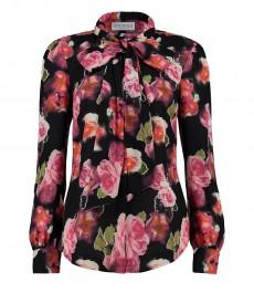 Женская рубашка, черная, оранжевый цветочный принт, коллекция BOUTIQUE