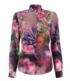 Женская рубашка, фиолетовая в голубой цветочный принт, линия BOUTIQUE