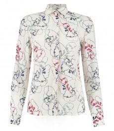 Женская блузка коллекции Бутик со стильным тёмно-голубым и красным цветочным принтом
