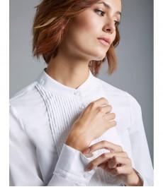 Женская полуприталенная рубашка, Boutique белая с мелкой складкой спереди - Манжеты на пуговицах