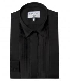 Женская блузка, черная с мелкой складкой