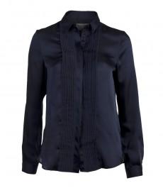 Женская рубашка, однотонная, свободная, с мелкой складкой