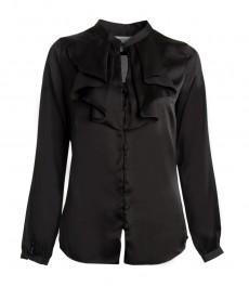 Женская черная рубашка, свободный крой, жабо.