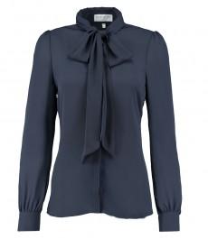 Женская однотонная темно-синяя полуприталенная блузка из крепа, коллекция бутик