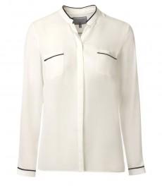 Женская кремовая рубашка с черной отделкой
