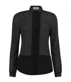Женская черная блузка в кремовую крапинку и вставками из черной ткани