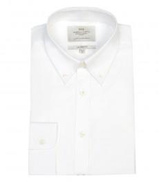 Мужская полуприталенная гладкотканная рубашка белого цвета - воротник с пуговицами