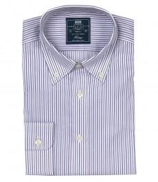 Полуприталенная мужская рубашка Boston Button Down, белая с фиолетовым разноцветная полоска, воротник с пуговицами