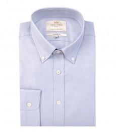 Мужская голубая полуприталенная рубашка- воротник с пуговицами