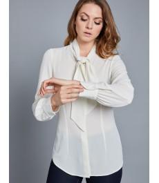 Женская приталенная блузка цвета слоновой кости, ткань креп - воротник-бабочка