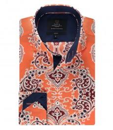 Мужская модная приталенная рубашка Curtis, оранжево-тёмно-синий принт пейсли - высокий воротник