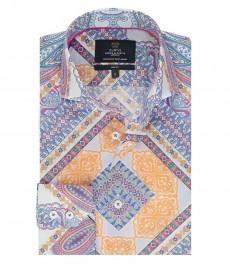 Мужская рубашка, голубая в оранжевый пейсли, принт, приталенная - высокий воротник