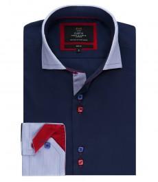 Мужская модная приталенная рубашка Curtis, тёмно-синяя с контрастными воротником и манжетами