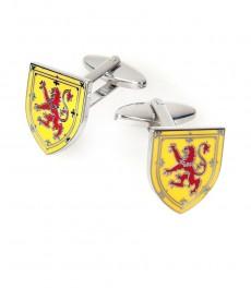 Мужские жёлто-красные запонки в виде щита с эмблемой шотландского льва