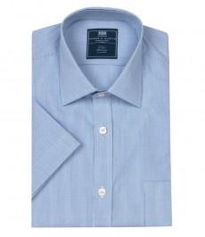 Полуприталенная мужская рубашка Clifford, голубая с белой мелкая клетка, короткий рукав