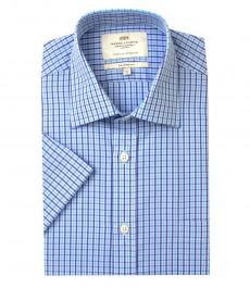 Мужская полуприталенная рубашка голубо-бирюзового цвета в частую клетку с коротким рукавом