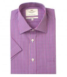 Мужская полуприталенная рубашка розово-фиолетового цвета в частую клетку с коротким рукавом