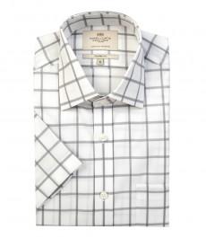 Мужская белая рубашка в крупную серую клетку, полуприталенная - короткий рукав