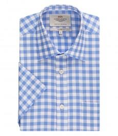 Мужская рубашка, голубая в белую клетку, полуприталенная короткий рукав