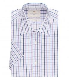 Мужская рубашка, белая в сиреневую клетку, полуприталенная, короткий рукав