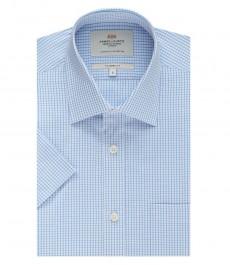 Мужская офисная полуприталенная рубашка, бело-голубая в клетку, короткий рукав - лёгко гладится