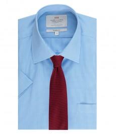 Мужская полуприталенная рубашка, голубая в белую мелкую клетку, короткий рукав - легко гладится