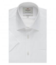 Мужская полуприталенная рубашка, белая в белую клетку, короткий рукав - легко гладится