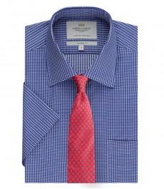 Мужская полуприталенная рубашка тёмно-синяя ткань добби в мелкую клетку с коротким рукавом - лёгкая в глажке
